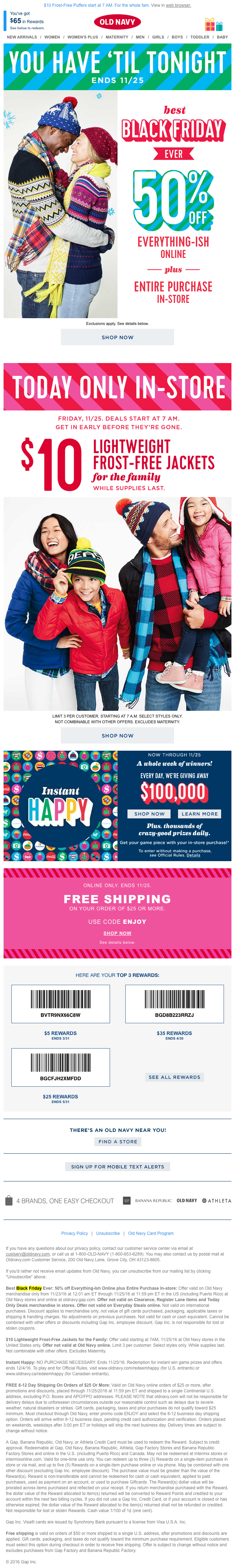 Old Navy Black Friday Email